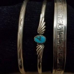 3pcs Vintage Navajo Sterling Silver Bracelets